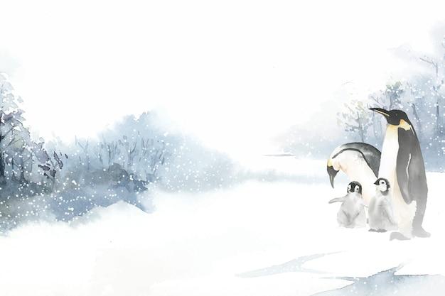 Pingwiny w zimie wonderland akwarela wektor