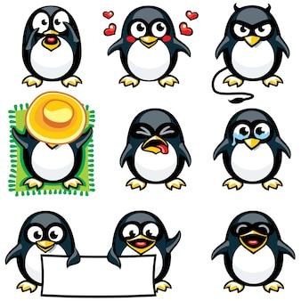 Pingwiny z buźkami pogrupowane indywidualnie w celu łatwego kopiowania i wklejania.