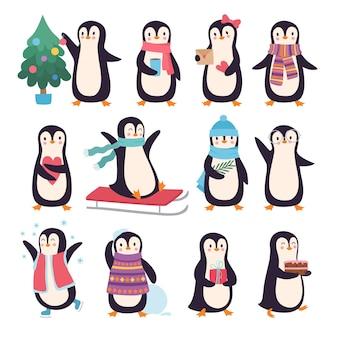 Pingwiny. zabawne zimowe postacie aktywne stanowią małe słodkie pingwiny w kolekcji gryzmoły wektor szalik i ubrania. pozdrowienie sezon ptaków, ilustracja polarna znaków nowego roku