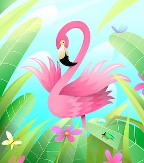 Pink flamingo w zieleni, otoczony liśćmi i trawą. ilustracja w stylu przypominającym akwarele.