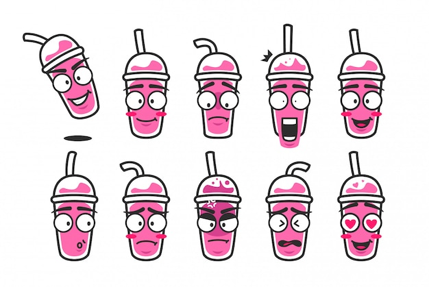 Pink smoothies cup drink character cartoon maskotka emoji cute smiley expression kit set