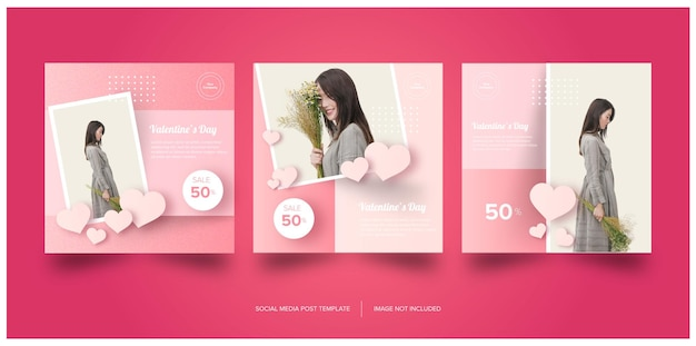 Pink valentines social media banner premium do pobrania za darmo