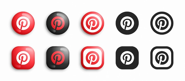 Pinterest nowoczesne 3d i płaskie zestaw ikon