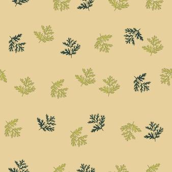Piołun wzór na beżowym tle. piękna roślinna ozdoba lato zielony kolor. losowy szablon tekstury dla tkaniny. projekt ilustracji wektorowych.