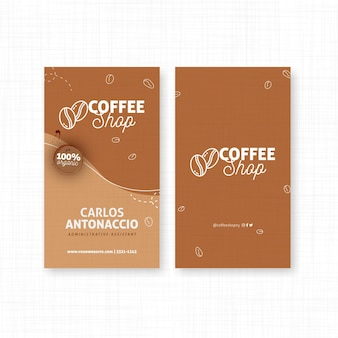 Pionowa dwustronna wizytówka kawiarniana
