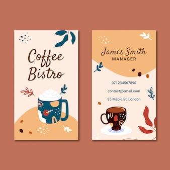 Pionowa dwustronna wizytówka kawowa