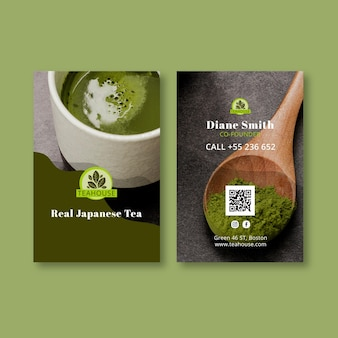 Pionowa dwustronna wizytówka matcha tea