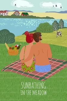 Pionowa ilustracja z facetem i dziewczyną, opalając się na naturze