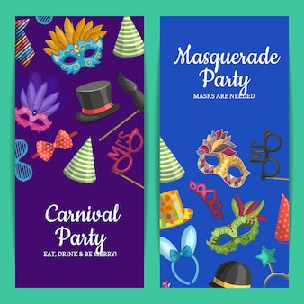 Pionowa karta lub ulotka z maskami i akcesoriami imprezowymi