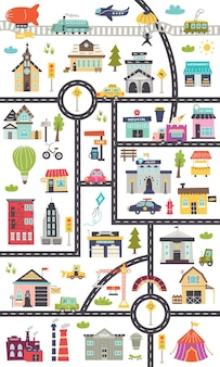 Pionowa mapa dla dzieci z drogami, samochodami, budynkami. projekt przedszkola dla plakatów, dywanów, pokoju dziecięcego. ilustracja wektorowa