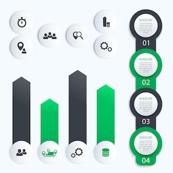 Pionowa oś czasu, elementy infografiki biznesowej, 1, 2, 3, 4, etykiety kroków i wykres, w kolorze szarym i zielonym