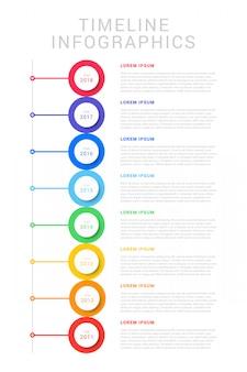 Pionowa oś czasu z ośmioma okrągłymi elementami, oznaczeniem roku i polami tekstowymi. prosty schemat procesu