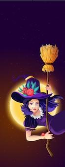 Pionowa pocztówka z pozdrowieniami na halloween z nocą halloween, świecącym księżycem, nocnymi gwiazdami i piękną czarownicą z miotłą.