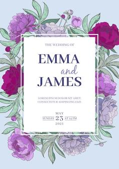 Pionowa rama kwiat piwonii szablon zaproszenia ślubne ręcznie rysowane ilustracji wektorowych