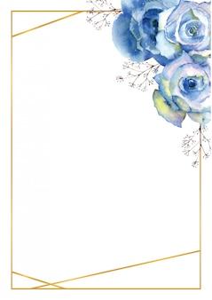 Pionowa rama z niebieskimi kwiatami róży i ozdobnymi gałązkami w złotej ramie na białym tle