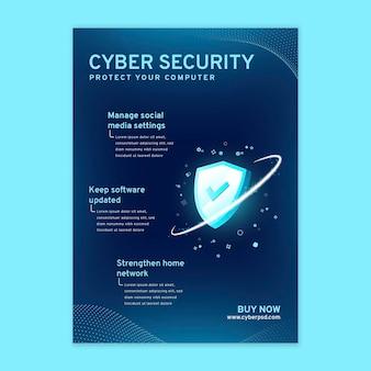 Pionowa ulotka dotycząca bezpieczeństwa cybernetycznego