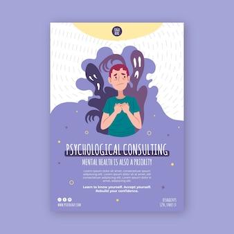Pionowa Ulotka Dotycząca Poradnictwa Psychologicznego Darmowych Wektorów