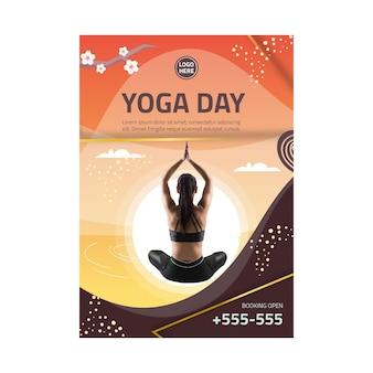 Pionowa ulotka dotycząca równowagi ciała jogi