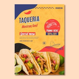 Pionowa ulotka restauracji meksykańskiej