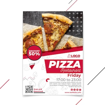 Pionowa ulotka restauracji pizzerii