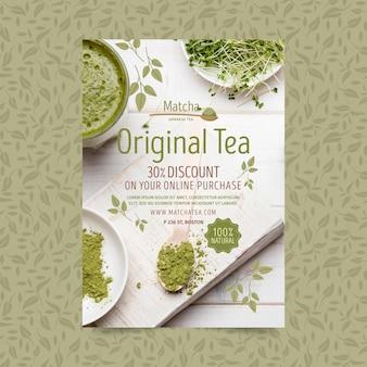 Pionowa ulotka z herbatą matcha