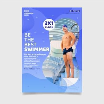 Pionowa ulotka z lekcją pływania