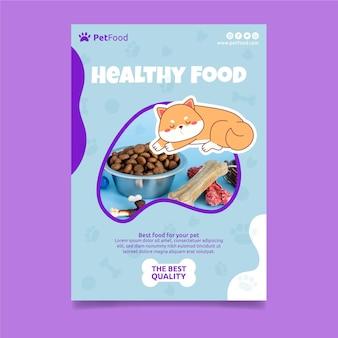 Pionowa ulotka z żywnością dla zwierząt
