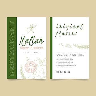 Pionowa wizytówka dwustronna dla restauracji włoskiej