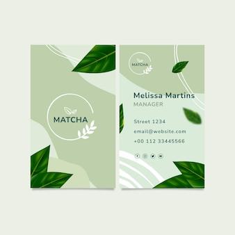 Pionowa wizytówka z herbatą matcha