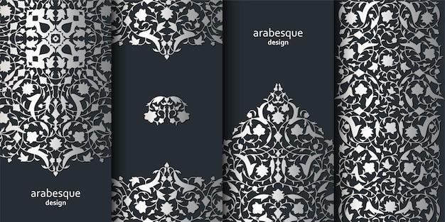 Pionowe arabeska kwiatowy banery