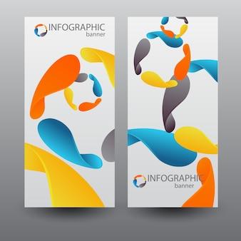 Pionowe banery biznesowe z elementami kolorowych ostrzy