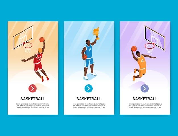 Pionowe banery do koszykówki ze sportowcami strzelającymi bramkę w koszu