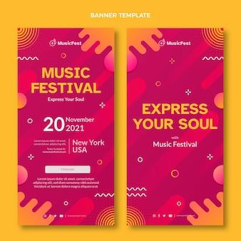 Pionowe banery festiwalu muzyki z gradientem półtonów
