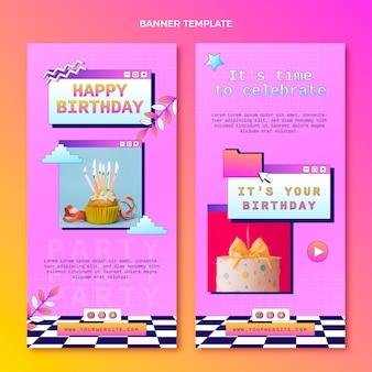 Pionowe banery gradientowe retro vaporwave urodzinowe