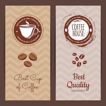 Pionowe banery lub ulotki z logo kawiarni lub marki