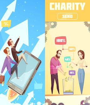 Pionowe banery o tematyce crowdfundingowej
