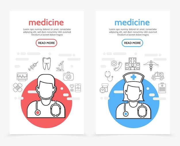 Pionowe banery opieki zdrowotnej