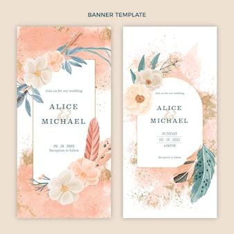 Pionowe banery ślubne w stylu boho watercolor