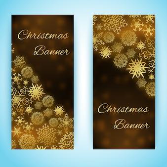 Pionowe banery świąteczne z pięknymi płatkami śniegu