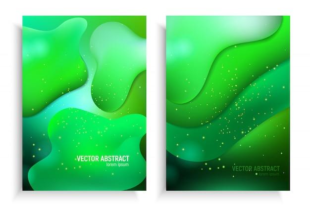 Pionowe banery ustawione w 3d abstrakcyjne tło z ufo przepływ ruchu zielonej fali