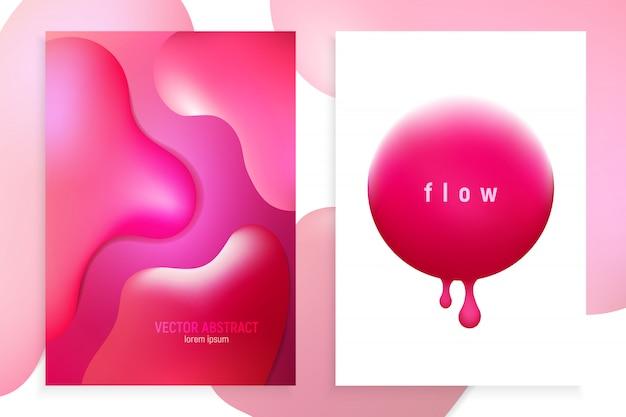 Pionowe banery ustawione w 3d streszczenie tło z przepływem ruchu różowej fali