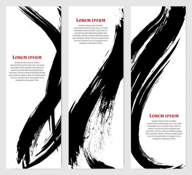 Pionowe banery ustawione w nowoczesnym stylu azjatyckim. czarne szorstkie pociągnięcia pędzla. szablon tekstu.
