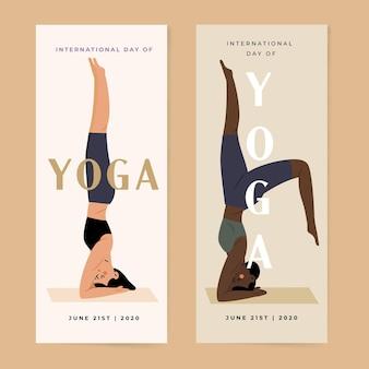 Pionowe banery z międzynarodowym dniem jogi