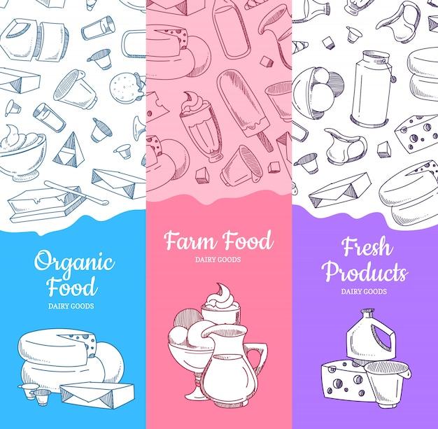 Pionowe banery z naszkicowanymi produktami mlecznymi i miejsce na tekst
