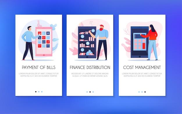 Pionowe banery zestaw z ludźmi płacącymi rachunki i dystrybuującymi finanse online na białym tle na niebieskim tle mieszkania