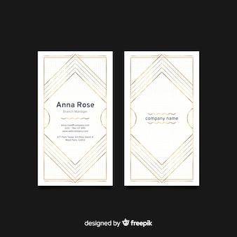 Pionowe białe eleganckie wizytówki szablon
