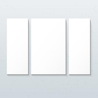 Pionowe białe plakaty tryptyk