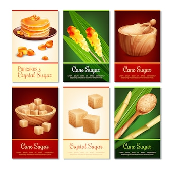 Pionowe karty cukru trzcinowego