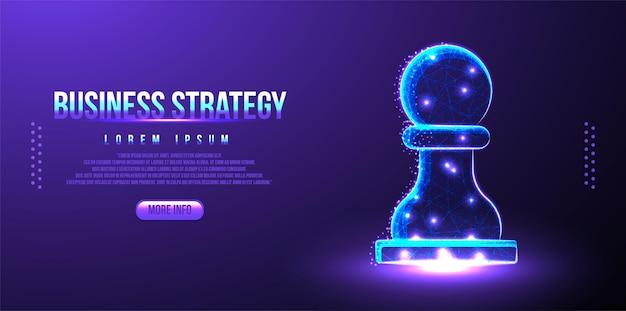 Pionowe szachy, strategia biznesowa low poly wireframe