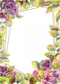 Pionowe tło ramki z kwiatami róż